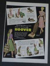 Original Print Ad 1948 HOOVER Cleaning Vacuum Cleaners Cylinder Upright