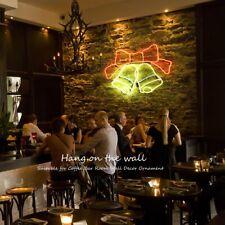 """Christmas Bell Neon Sign 24""""x17"""" Light Bar Glass Wall Display Gift Pub Us plug"""
