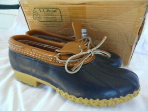 LL Bean Duck Boots Low Rubber Moc Blue Tan Leather Women 10 NEW w/ Box Made USA