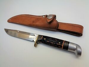 """Vintage Western USA Fixed Blade Knife & Sheath S-H48A Hunting Fishing 8 1/4"""" L"""