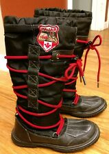 Pajar Canada Black Crosby Boots 36 5 5.5 EUC Red Laces Leather Shearling Lined