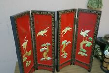 """Small Chinese Black Lacquer Folding Table Screen + Inlay Jade MOP Hard-stone 18"""""""