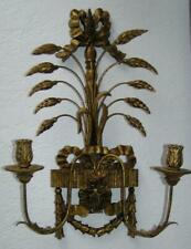 Antique Gold Gilt Wood Carved Florentine Metal Filagree Candleabra Sconce Italy