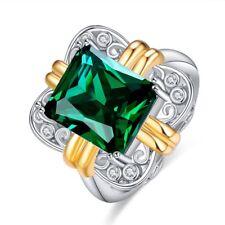 Emerald Cut Green Gemstone Women Silver Ring Holiday Gift Jewelry Wedding Bridal