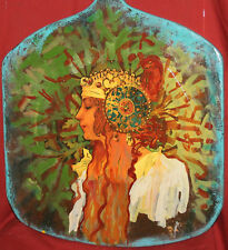 Wall Decor Both Side Hand Painted Print Wooden Board Woman Portrait/Nudes Risque