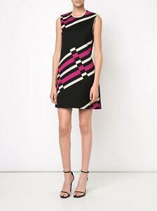 LANVIN 1790$ Authentic New Pink Striped Cotton Sleeveless Mini Dress SS2016