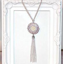 VINTAGE / anni 1920 20 / GATSBY / 1920's Long Perla, Diamante, argento collana e nappa