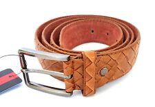 Cinta Cintura Uomo Pelle Marrone A-533 Elegante Glamour Fashion Squame hac