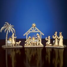 Shimmery Gold Nativity Scene Christmas Tealight Candle Holder Set