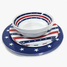 Smart Home 12PC Patriotic Stars & Stripes Melamine Dinnerware Set
