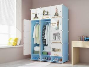 12 Cube Plastic Wardrobe Cupboard Closet Cabinet Organiser Storage Furniture Set