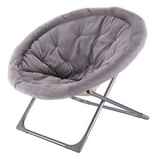 Oversized Large Folding Saucer Moon Chair Corduroy Round Seat Living Room Gray