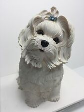 "Danbury Mint Maltese Dog Figurine OOS  Sculpture Adorable Lifelike 8.25"""