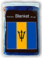 "Barbados Flag Fleece Travel Blanket *NEW* 60""x50"" Barbadian Throw Cover Bandera"