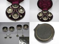 Cased Set 1882 Victorian English Sterling Silver  Salts Set, 156gms