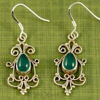 GREEN ONYX EARRINGS JEWELRY GENUINE 925 STERLING SILVER PREMIER ARTISAN HANDMADE