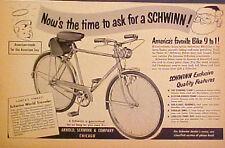 1951 Arnold Schwinn Bicycles~World Traveler Christmas Santa Bike Memorabilia AD
