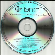 ORIANTHI According to you w/RARE REMIX & GUITARS MIX TST PESS PROMO DJ CD Single