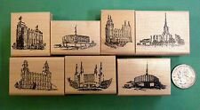 Mormon/LDS Temples, Set of (7), wood mounted rubber stamps