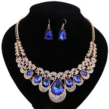 Gold Plated Blue Crystal Drop Gem Bridal Necklace Earring Wedding Jewelry Sets