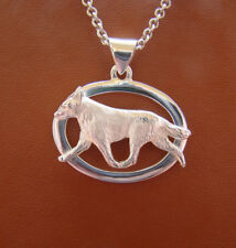Large Sterling Silver Australian Cattle Dog Moving Study On A Oval Frame Pendant