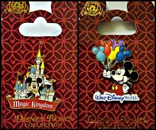 Disney Parks 2 Pin Lot WDW Mickey balloons + Magic Kingdom Castle  red card ride