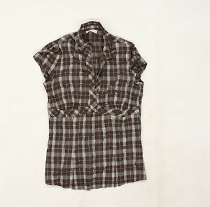 ORSAY Womens Brown Plaid Knit Basic Blouse Size 6