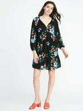 Old Navy LS Mini Black Floral Swing Dress    SZ: M  NWT