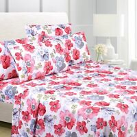 American Home Collection Ultra Soft 4-6 Piece Red Floral Printed Bed Sheet Set
