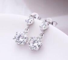Clásico Colgante De Diamante En Estilo Cristal pendientes C / Plata Esterlina 925 Espalda