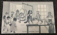 1910 Louis Wain Cat Humour Postcard - Horse Jockey Cats In The Weighing Room