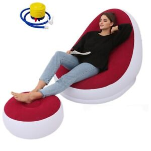 Inflatable Bean Bag Sofa Leisure Lazy Couch Chair Footrest Stool Outdoor Folding