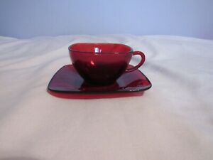 Mid-Century Anchor Hocking Royal Ruby Red Square Coffee/Tea Cup and Saucer