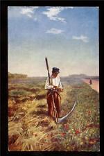 c1910 French Tuck peasant life Farmer with scythe France postcard