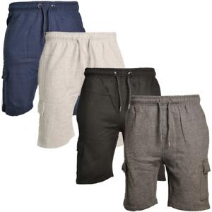 Mens Fleece Side Cargo Pockets Running Yoga Gym Short