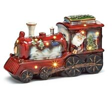 """Spectacular Lighted Train Sculpture With Santa Ringing a Bell Inside Window 11"""""""
