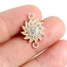 10x Gold Plated Crystal/Rhinestone Sun Flower Link Connector Beads Charm 21*15mm