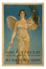 BUY WAR SAVINGS STAMPS WW1 POSTER 24X36 angel with sword glowing rare HOT