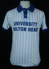 VTG 80's University of Hilton Head Island SC Striped 50/50 Golf/Polo Shirt Sz L