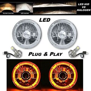 5-3/4 Amber LED Halo Angel Eye Crystal Clear Headlight w/ 6k LED Light Bulb Pair