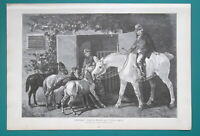 YOUNG HORSES Returning Home Master on White Horse - 1892 Victorian Era Print