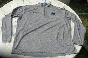 NIKE & MLB 3 XL NEW YORK YANKEE'S GRAY LONG SLEEVE PULLOVER SHIRT COLLARD
