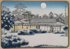 SHISENDO BUDDHIST TEMPLE IN SNOW Real 20thC Shin Hanga Japanese Woodblock Print