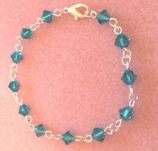 Silver Plated Crystal Element Chain Bracelet with Blue Zircon Spacers (c)