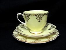 Vintage Royal Albert Pale yellow Tea cup & Saucer Trio Fancy Gold Pattern