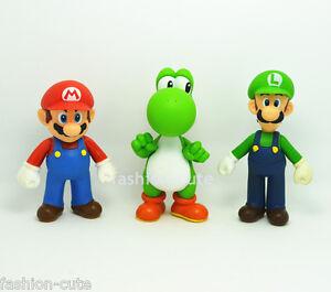 3 pcs Super Mario Brothers Mario Luigi Yoshi Action Figures figurines 5 inch