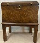 Vintage Lane Burl Wood Box on Stand Side Table