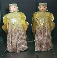 "Vintage PINK GLITTER PLASTIC STRAW CHRISTMAS ANGELS 10"" ~RARE 1950s Set Of 2"