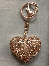 White Glass & Multi Colour Austrian Crystal Heart Keyring Bag Charm Gold Tone