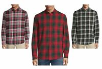 St Johns Bay Mens Long Sleeve Flannel Shirt Plaid size S M L XL XXL NEW